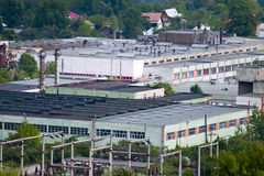 Factory. Aerial view of factory buildings in industrial complex stock photos