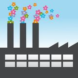 Factory. Fantasy illustration of a non polluting factory Stock Images