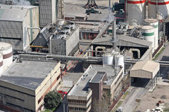 Factory. Aerial view of factory buildings royalty free stock photo
