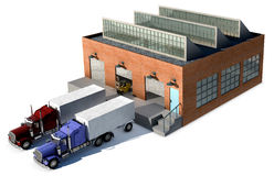 Factory. A small factory with a Cargo truck at a loading dock isolated on white Stock Photography