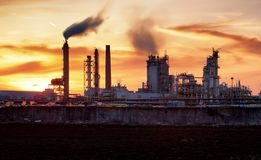 Factory with air pollution, Oil industry Stock Image