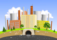 Factory air and water pollution. Illustration Royalty Free Stock Photo