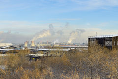 Factory area, the smoking pipe, pollution Royalty Free Stock Photos