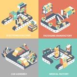 Factory automation concept vector flat isometric poster set. Factory automation vector flat isometric poster set. Electronics factory, Packaging manufactory, Car Stock Photos