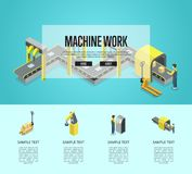 Factory automation and machinery poster. Factory automation and machinery isometric 3D poster. Industrial goods production, assembly line with workers Royalty Free Stock Photos
