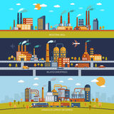 Factory Banner Set Royalty Free Stock Images