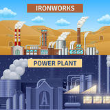 Factory Banners Set. Factory building horizontal realistic banners set with ironworks and power plant  vector illustration Royalty Free Stock Images