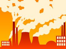 Factory belching out pollution Stock Image