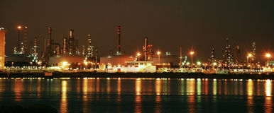 Factory big refinery in night Royalty Free Stock Photo