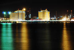 Factory big refinery in night. Oil and gas factory in Spain (Andalusia Royalty Free Stock Images