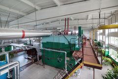 Gas boilers for water heating and steam production. Factory boiler room. Gas boilers for water heating and steam production royalty free stock photos