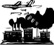 Factory Bombing. Woodcut style expressionist image of a bomber aircraft dropping bombs on a factory Stock Photo