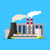 Factory building icon vector flat style. Manufacturing buildings. Stock Photos