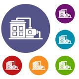 Factory building icons set Stock Image