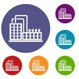 Factory building icons set Royalty Free Stock Image