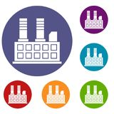 Factory building icons set Royalty Free Stock Photography
