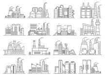 Factory building line style set. Indistrial construction and commercial architecture outline stroke set. Factory building line style set. Indistrial royalty free illustration