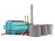 Factory building model with oil storage tank Royalty Free Stock Photography
