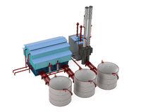 Factory building model with oil storage tank Royalty Free Stock Photo