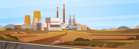 Factory Building Nature Pollution Plant Pipe Waste Banner Royalty Free Stock Photography