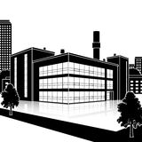 Factory building with offices and production facilities Stock Photos