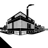 Factory building with offices and production facilities Royalty Free Stock Images