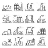Factory building outline set Royalty Free Stock Photography