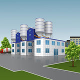 Factory building for the production of concrete with a reflectio Royalty Free Stock Image