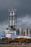 Factory building site. A factory building site with dark sky Royalty Free Stock Photos