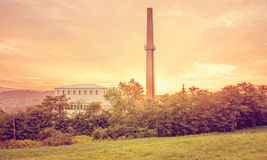 Factory building in sunset Royalty Free Stock Photos