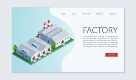 Factory building vector webpage template. Concept of perfect manufactory plant. Creative isometric illustration for. For advertisement and promotion of vector illustration