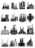 Factory buildings icons set Royalty Free Stock Images