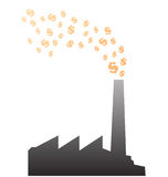 Factory burning money vector Royalty Free Stock Photo