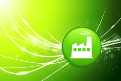 Factory Button on Green Abstract Light Background Stock Images