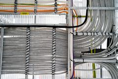 Fatory cable management copy space many grey stock photography