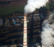 Factory chimney. Czech republic, air photo Royalty Free Stock Photo