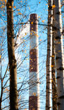 Factory chimney and trees. Royalty Free Stock Photo