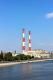 Factory chimneys. Pipes heat power stations (CHP) in Moscow Stock Images