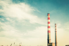 Factory chimneys. Power plant huge chimney erected in the sky, no smoking Royalty Free Stock Photos