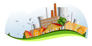 Factory in the city. Abstract concepts Stock Photos