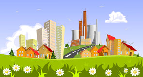 Factory in the city. Illustration Stock Photos