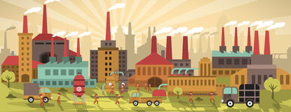 Factory in the city (retro colors) Stock Image