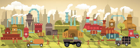 Factory in the city (retro colors) royalty free illustration