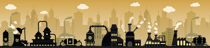 Factory in the city. Vector illustration of factory in the city Royalty Free Stock Images