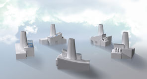 Factory cluster with solar panels stock illustration