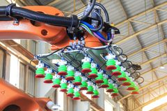 Factory 4.0 concept, Picking vacuum pad on industrial robot arm for smart warehouse in manufacturing factory,. Vacuum picking unit on industrial picking robot royalty free stock photos