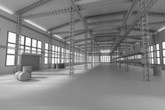 Factory construction 3d render royalty free stock images