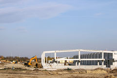 Factory construction site with machinery Royalty Free Stock Photography