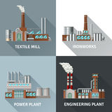 Factory Design Icons Set. Factory building design realistic icons set with textile mill ironworks engineering and power plant shadow  vector illustration Royalty Free Stock Image