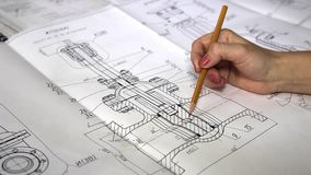 FACTORY DETAIL DRAWINGS. stock footage